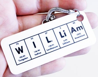 Chemistry Name Science Keychain Key ring - Personalized, Custom Science Gift Idea - Graduation gift idea