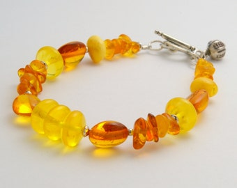Genuine Amber Bracelet. Baltic Amber and Sterling Silver