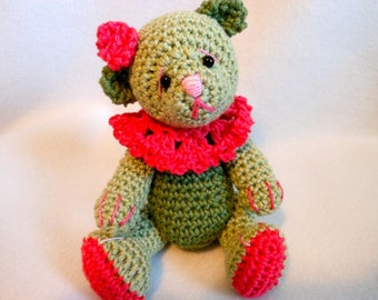 Crochet Teddy Bear in Sage Greens and Bright Pink, Stuffed Bear, OOAK, Collectible, Stuffed Animal, Handmade, Ruffle Collar, Flower
