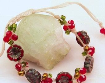 Shamballa Bracelet for Women   Knotted Waxed Linen Bracelet   Red Flower Bead Bracelet   Knotted Flower Bead Bracelet