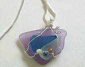 Lavender, Blue, and Light Green Sea Glass Pendant Wire Wrapped with Freshwater Pearls by Carol Wilson of Jet'adorn