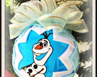 HANDMADE QUILTED Ornament/Laughing Snowman ORNAMENT Made from Fabric/ Childs Ornament, (Ready to Ship)