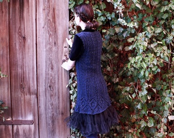 knit dress, lace knitted tunic, handmade lace dress, navy blue dress, knee length dress, victorian knitted dress