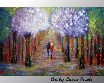 Spring Landscape Couple Painting Trees Forest Sunset Original Abstract Art on canvas,  Art by Luiza Vizoli