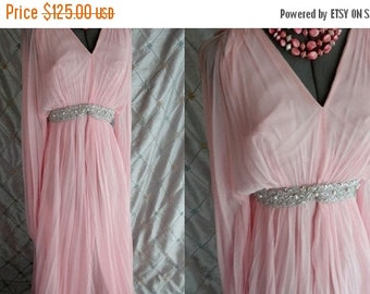 "ON SALE 60s 70s Dress //  Vintage 1960s 1970s Pin Chiffon Maxi Dress with Silver Trim Size S 24"" waist dancing dance party"
