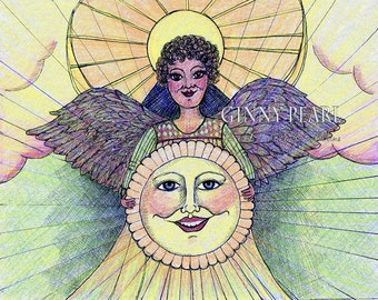 Let the Sunshine!, 8th in my series of pen and ink/prismacolor pencil angels