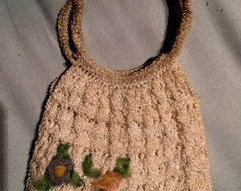 Vintage childshandmade  crocheted purse
