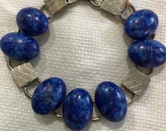 Vintage Art Deco Faux Lapis silver Bracelet jewelry