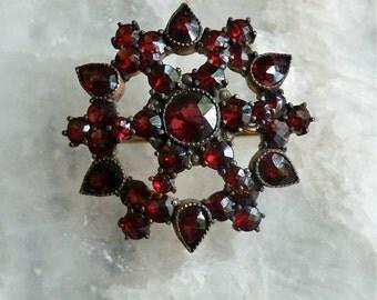 Antique Bohemian Garnet Brooch Star Center Beautiful Faceted Garnets c. 1900