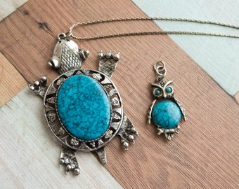 Large Southest Faux Turquoise Turtle and Owl Pendants