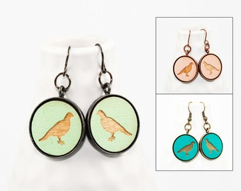 Dangle Earrings with Dove Design - Laser Engraved Wooden Birds (Choose Your Color)