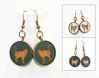 Cat Earrings - Laser Engraved Wood (Choose Your Color)