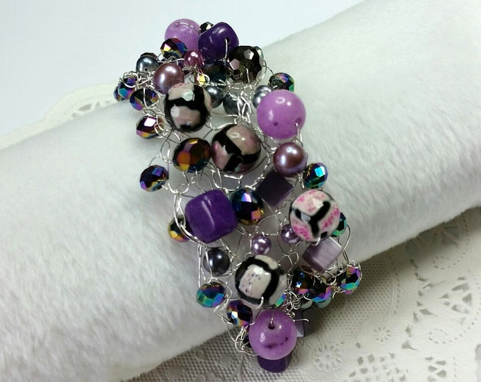 Purple Plus Wire Crocheted Cuff With Crystals, Stones and Pearls
