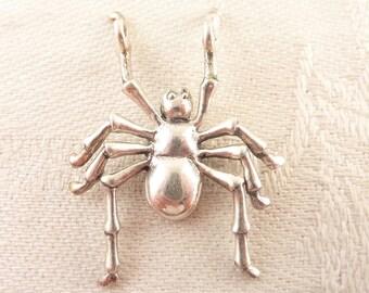 Vintage Sterling Figural Spider Pendant