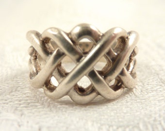 Size 5 Vintage Sterling Woven Band Ring