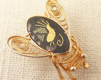 SALE ---- Vintage Goldtone Filigree Damascene Stone Fly or Bee Brooch