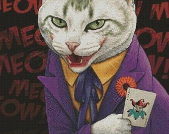 Cat Cross Stitch Kit, 'Joker', Jenny Parks, Cat Needlecraft Kit, Comic Book Characters, Modern Cross Stitch, Counted Stitching