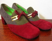 Vintage 60s Mod D'Cardo Burgundy / Green & Gray Round Toe Low Heeled Slip-Ons with Brass Hardware Size 7