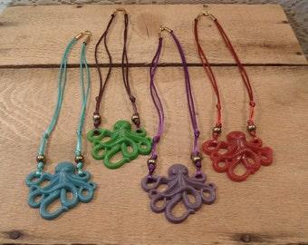Octopus necklace choker red green blue purple