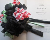 Vintage Fabric Flowers * Weddings and Occasions * Fabric Pommery * Fabric Bouquets * Black, Mint  & Red Berries