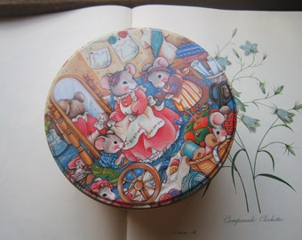 Vintage Tin * Mice * Sewing * Tin Sewing Box * Illustrated * Animated Adorable * Sew Chic Tin* Sewing Room Chic * 1993 House of Fabrics