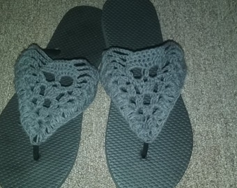 crocheted skull flip flops sandals
