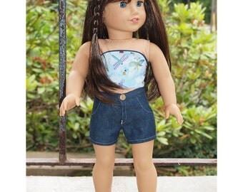 18 inch Dolls Clothes -  Girl Doll Clothes - Shorts Outfit - Strapless Top - Theme Dragonflies - Denim  Shorts
