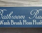 Primitive Wood Sign Bathroom Rules ON SALE