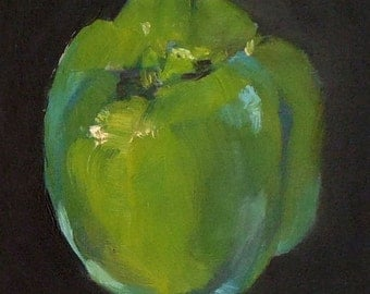 Green Pepper, 5x7 Oil on Panel Daily Painting Still Life