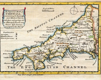 1744 Antique Map of Cornwall - Rare Cornwall County Map - Hand Coloured UK County Map - Unique Gift