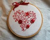 Embroidery Hoop Art, Hoop Art, Button Hoop Art, Embroidery Hoop Wall Art, Red Work Embroidery, Red Heart