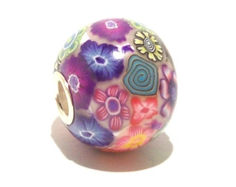 Large Hole Bead Handmade from Polymer Clay - Tiny Flowers