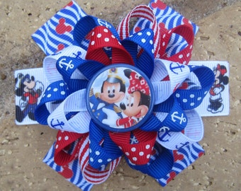 Disney Cruise Lines Inspired Mickey Mouse Minnie Mouse Custom Boutique 3 Layer Loopy Flower Boutique Hair Bow DCL