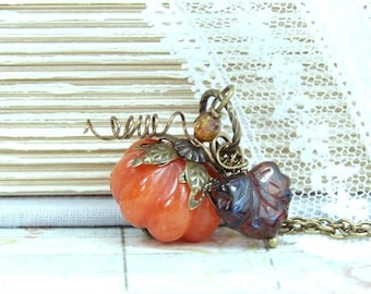 Pumpkin Pendant Necklace Autumn Necklace Pumpkin Jewelry Thanksgiving Necklace Fall Jewelry Nature Necklace