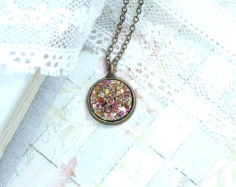 Gold Druzy Necklace Bohemian Necklace Small Gold Necklace Faux Druzy Necklace Dainty Necklace