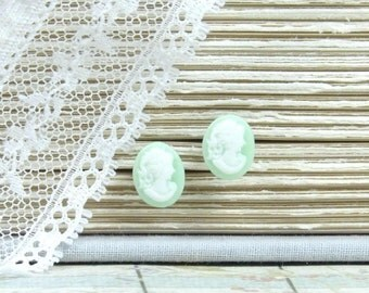 Cameo Stud Earrings Victorian Earrings Cameo Earrings Hypoallergenic Light Green Earrings Cameo Studs