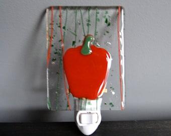 Red Pepper Fused Glass Nightlight