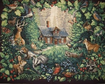 Glenvale cottage fabric  vintage wall  panel  to sew with  deer berries woods rabbit chipmunk raccoon badger bird butterfly forest house