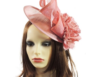 Dusky Pink Iliana Fascinator Hat for Weddings, Races, and Special Events With Headband