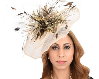 Siskin Mink Beige Fascinator  Hat for Weddings, Occasions and Parties on a Headband