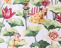 Whimsical Chinoiserie Fabric with Asian Oriental Scenes in Green Red Yellow on Off-White