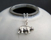 """tiny sterling silver bear necklace. small spirit animal charm power brown bear pendant good luck totem talisman jewelry. grizzly nature 1/2"""""""