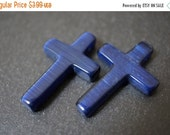SUMMER SALE SALE - Lapis Lazuli Deep Indigo Royal Blue Synthetic Cats Eye with Chatoyancy Cross - Top Drilled - 22mm x 30mm - 2 pcs