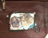 Maroon Leather Crossbody Purse with Vintage Kittens and Rhinestones