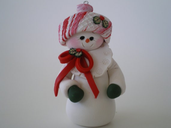 Snowman christmas ornament polymer clay by helen s clay art