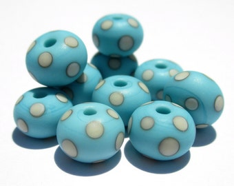 Turquoise and Ivory Minis (10) Lampwork Beads- SRA