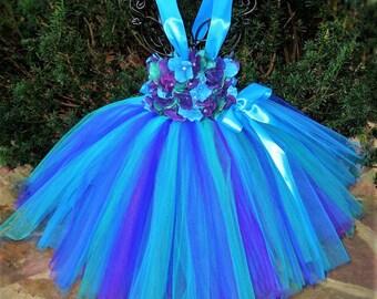 PEACOCK FLOWERS. TUTU Dress. Turquoise, Teal,  Purple.  Birthday Tutu  Dress.  Flower Girl. Princess  Dress.  Photo Shoot.  Girl Tutu Dress.