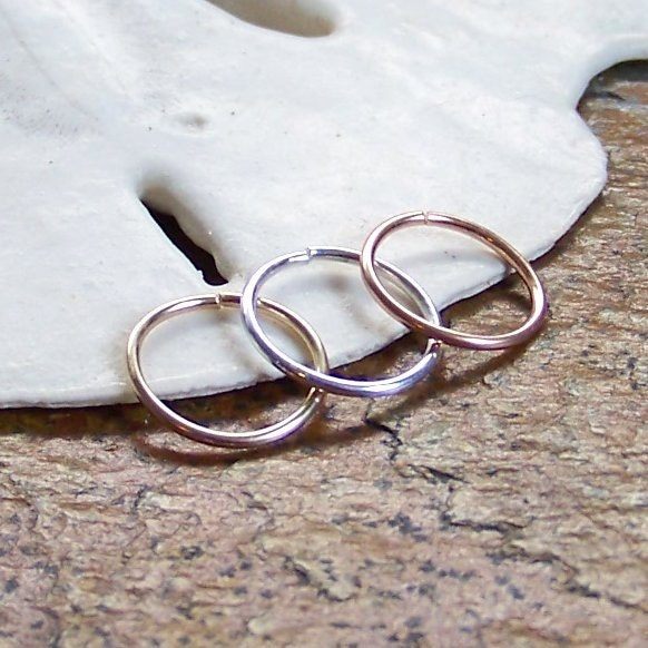 SET of TWO Seamless Hoop Earrings Small Catchless Hoops