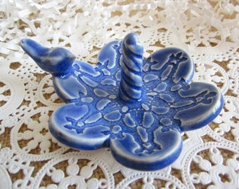 Dove ring holder, ring dish,  blue bird ring dish, ceramic, engagement gift