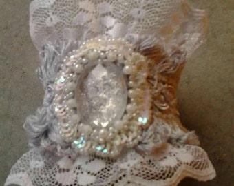 Huge bold lace cuff bracelet powder gray